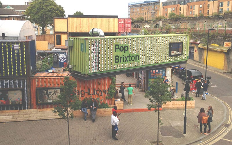 Shipping containers in use at POP Brixton, London
